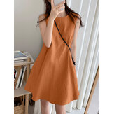 Women Cotton Solid Color Round Neck Sleeveless Casual Midi Dress