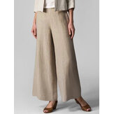 Women Solid Casual Cotton Elastic Waist Flared Wide Leg Pants With Pocket