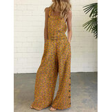 Women Cotton Floral Print Side Button Wide Leg Sleeveless Vintage Jumpsuits With Pocket