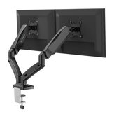 BlitzWolf® BW-MS3 Dual Monitor Stand with Dual Pneumatic Arms, 360° Rotation, +90° to -45° Tilt, 180°Swivel, Adjustable Height and Cable Management