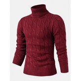 Mens Twisted Knitted High Neck Solid Color Casual Basic Sweater