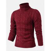 Camisola masculina tricotada com gola alta e cor sólida casual básica