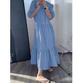 Düz Renk Kabarık Kol Pileler Fırfır Etek Tatil Maksi Elbise