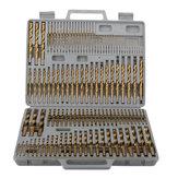 Drillpro 115 шт. Набор сверл с титановым покрытием 1 / 16-1 / 2 дюймов Круглый хвостовик спиральное сверло для быстрого сверления дерева и металла