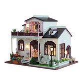DIY Bowness Town miniatura muebles de casa de muñecas de madera modelo luz LED juguetes regalo
