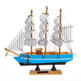 10 LEDs Wood Sailing Boats Ship Model Wooden Craft Sailor Handcrafted Boat Home Decoration