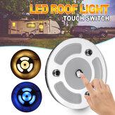 100mm Ściemnialna lampka do czytania LED Ściemniacz dotykowy Niebieski + Ciepła biała dzienna lampa dachowa samochodu do przyczepy kempingowej 10-30 V.