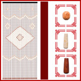 31 Line Wave Handmade Fly Screen Wooden Beads Curtain Wooden Door Curtain Blinds for Porch Bedroom Living Room Divider
