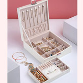 Flannel Square Jewelry Box Simple Layout 2 Layers Makeup Organizer Choker Ring Necklace Storage Box
