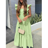 Vacation Solid Color Square Collar Sleeveless Ruffled Layered Stitching A-line Dress