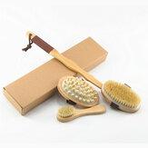Badborstel met natuurlijke haren Exfoliërende houten lichaamsmassage Doucheborstel SPA Vrouw Man Huidverzorging Droge lichaamsborstel