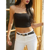 Women Solid Color Sleeveless Sling Pearl Straps Knitting Short Tank Tops