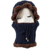 Unisex Windproof Knitted Hat Beanies Scarf Winter Warm Outdoor Camping Cycling Head Scarves