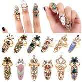 Unique style Crystal Rings Nail Rings Chic Knuckle Rings New Fashion Jewelry for Women Vogue Nail Decoration