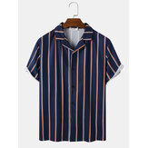 Mens Vertical Striped Revere Collar Button Up Short Sleeve Shirts