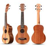 21 дюймов 4 струны 15 Лады Цвет дерева Красное укулеле Музыкальный инструмент с медиаторами / Веревка