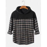 Herren Plaid Patchwork Langarm Drop Shoulder Casual Hoodies