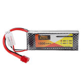 ZOP Power 7.4V 1500mAh 2S 25C Lipo Battery T Plug for  for WLtoys 144001 A959-B A969-B A979-B 1/18 Rc Car