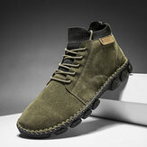 Men Hand Stitching Outdoor Microfiber Leather Tooling Boots