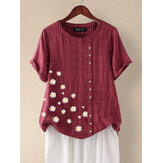 Daisy Print Floral O-neck Short Sleeve Button Plaid Casual T-shirts For Women
