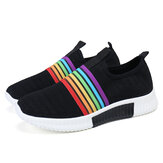 Plus Size Women Rainbow Stripe Knitted Breathable Casual Walking Shoes