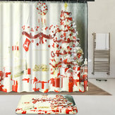 Indoor Christmas Dress Up Shower Curtain Liner Waterproof Bathroom Waterproof Carpet Mat