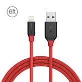 BlitzWolf® Ampcore BW-MF8 2.4A Lightning Gevlochten Data Cable 6ft / 1.8m voor iPhone 8 Plus X 7 Plus