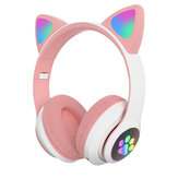 STN STN28 bluetooth Headset Cat Ears Wireless BT5.0 / 3.5MM Dual Mode RGB Light Bass Noise Cancelling Foldable Headphones for Adults Kids Girl Headset Support TF Card