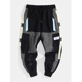 Mens Contrast Color Drawstring Elastic Waist Cargo Pants With Pocket