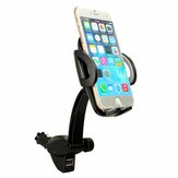 360° In Car Charger Holder Mount 2 USB Cradle for iPhone 6 Plus 5 Samsun Galaxy