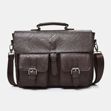 Men PU Leather Canvas Large Capacity 14 Inch Multifuntion Briefcase Crossbody Bags Handbag Backpack