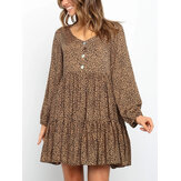 Women Leopard Print V-Neck Button Loose Long Sleeve Dresses