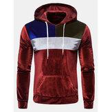 Heren patchwork velours hoodies met lange mouwen en trekkoord