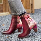 SOCOFY Retro Stitching Bedruckte Blumen Muster Reißverschluss Warm gefütterter High Heel Knöchel Stiefel