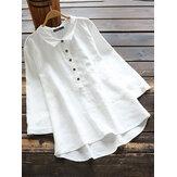 Dames katoenen effen kleur hoog-lage zoom 3/4 mouw knoop casual blouse