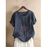Flower Print O-neck Button Short Sleeve Vintage T-shirts For Women