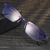 Unissex Anti-blue Light Frameless HD Diamond Trimming Bi-light Leitura de dupla utilização Óculos Presbyopic Óculos
