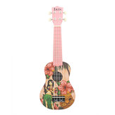 IRIN 21'' Pink Girl Mini Acoustic Guitar 4 String Ukulele Gift for Kids Beginners