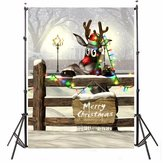 3x5FT Silk Christmas Deer Light Thin Photography Studio Backdrop Photo Background Party Props