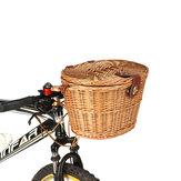 BIKIGHT Trendy Classic Afneembare rieten fiets voormand Fietsmand met deksel