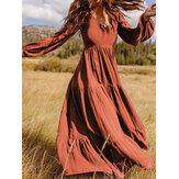 Women Retro Solid Color Back Zipper Puff Sleeve Loose Casual Maxi Dress