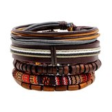 Retro Multilayer Wood Bead Leather Adjustable Men Bracelet