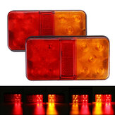 2Pcs 10 LED Rear Stop Indicator Tail Lights Red+Amber for Trailer Truck Lorry Caravan Van 12-80V