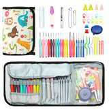 64pcs Crochet Hooks Kit Yarn Knitting Needles Sewing Tools Grip Set Folding Bag Toos Set