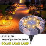 Solar Powered 8/12/16LED Lawn Light Imitation Stone Buried Lamp for Outdoor Garden Path Street