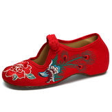 Peacock Chinese Embroidered Buckle Slip On Folkways Flat Shoes