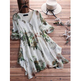 Women Floral Printed Loose Asymmetric Hem Blouse