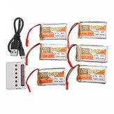 6 ADET ZOP GÜÇ 3.7 V 1200 mAh 30C 1S Lipo Batarya JST Şarj Için Şarj Ile RC Modelleri