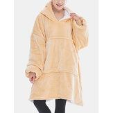 Damska flanelowa podszewka z polaru, zagęszczona bluza z kapturem, zimowa, luźna odzież domowa