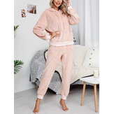 Women Soft Solid Color Hoodie Pocket Elastic Waist Jogger Pants Home Plush Pajama Set